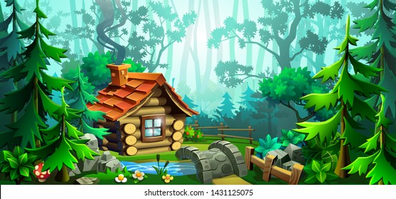 Wooden house in the forest. Scene with deciduous trees, firs, river, bridge and house. Vector illustration.