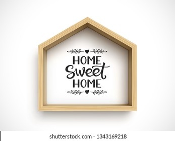 Wooden house frame on white background. Real estate symbol