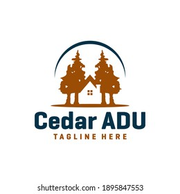 wooden house logo design in forest
