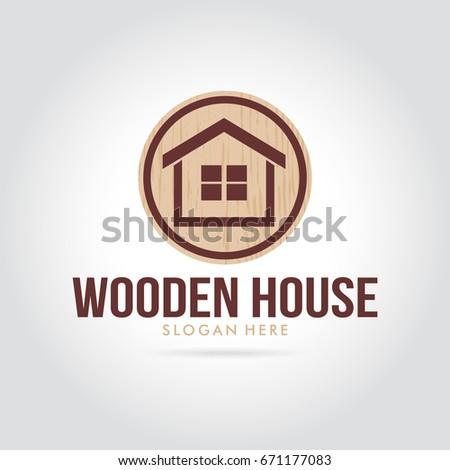 Wooden House Logo Simple Minimalist Modern Stock Vector Royalty