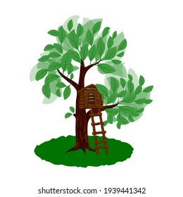 wooden house on a green tree vector illustration