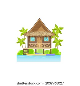 Wooden house on sea or ocean with canoe boats, palm trees isolated. Vector modern beach building, villa seashore bungalow. Mansion tropical hut on seaside of island at maldives or caribbean costs