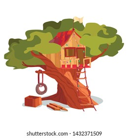 Wooden House on Tree Exterior. Treehouse Building Construction Vector Illustration. Game Playhouse in Forest Garden Park. Children Clubhouse. Fun Hut Cottage. Summer Season Tire Swing