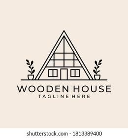 wooden house vintage line art logo design