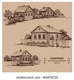 Wooden houses in the village. Hand drawn vector illustration