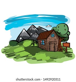 Wooden hut with apple tree in the mountains. vector artwork.