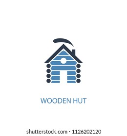 wooden hut concept 2 colored icon. Simple blue element illustration. wooden hut concept symbol design from Russia set. Can be used for web and mobile UI/UX