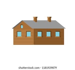 Wooden hut isolated. Village House vector illustration