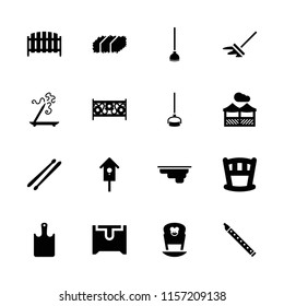 Wooden icon. collection of 16 wooden filled icons such as aroma stick, baby bed, fence, nesting house, drum stick, pergola. editable wooden icons for web and mobile.