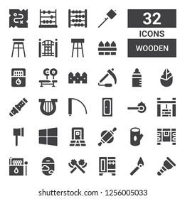 wooden icon set. Collection of 32 filled wooden icons included Wooden leg, Match, Wardrobe, Axe, Window, Matches, Chest, Log, Rolling pin, Door, Windows, Ax, Water well, Lyre