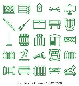 Wooden icons set. set of 25 wooden outline icons such as restaurant table, fence, barrel, wooden wall, aroma stick, mop, chest, bench, gazebo, nesting house, musical pipe
