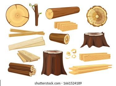 Wooden industry. Lumber trunks stacking log vector forestry objects stump and branches collection