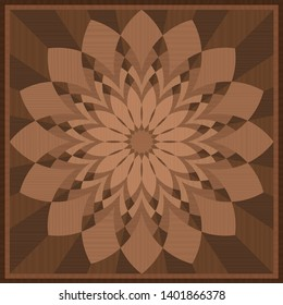 Wooden intarsia. Marquetry pattern, square wood tile. Vector illustration.
