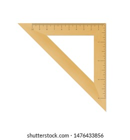 Wooden isosceles triangle with metric and imperial units ruler scale