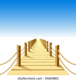 Wooden jetty. Vector.
