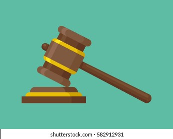 Wooden judge gavel and soundboard. Justice hammer sign. Legal law and auction symbol. Vector illustration in flat style.