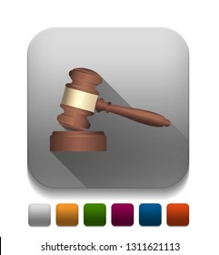 A wooden judge gavel and soundboard With long shadow over app button
