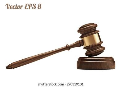 A wooden judge gavel and soundboard, vector illustration EPS 8.