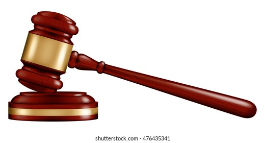 Wooden Judge's gavel with a stand, vector illustration.