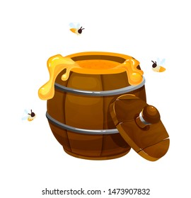 Wooden keg with honey with bees. Beekeeping farm honey concept. Honey beekeeping organic health product. Wooden Barrel full of honey with open lid vector illustration