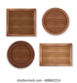Wooden labels collection. Vector shapes made of wood - square, rectangle, circle for stickers, banners, badges.