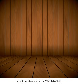 wooden lacquered stage wall and floor background.