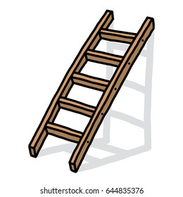 wooden ladder / cartoon vector and illustration, hand drawn style, isolated on white background.