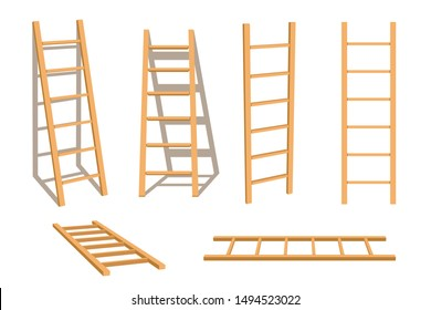 Wooden ladder household tool set isolated stepladder with shadow vector illustration