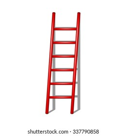 Wooden ladder in red design with shadow
