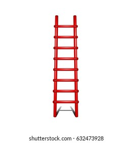 Wooden ladder in red design with shadow leading up