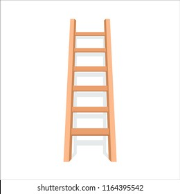 Wooden ladder with shadow. Vector illustration in flat style