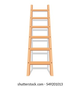 Wooden ladder with shadow. Vector illustration in flat style, isolated on white background