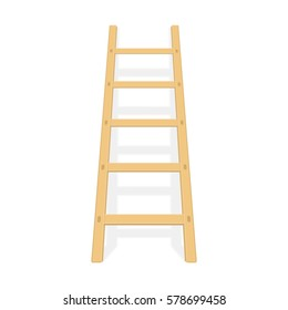 Wooden ladder with shadow. Wood step ladders stand near white wall. Vector illustration in modern flat style, isolated on white background. EPS 10.