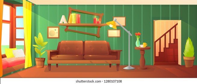 Wooden living room design. Stylish leather sofa and wooden shelf with frame and books. Green retro wallpaper.  Vector cartoon illustration