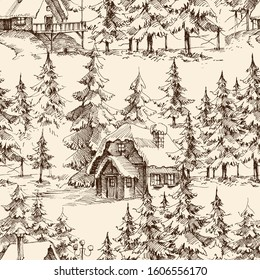Wooden lodge in the pine forest. Idyllic landscape, holidays resort graphic seamless pattern