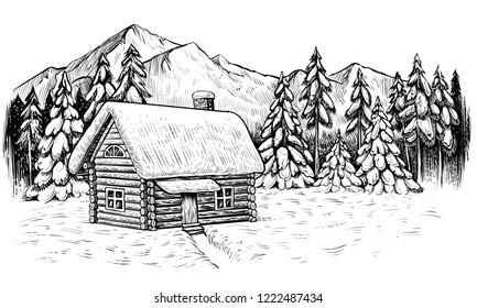 Wooden lodge in winter mountines, covered with snow and surrounded by coniferous forest. Panoramic snow landscape with house. Vector black and white sketch.