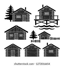 Wooden Log Cabin Vector