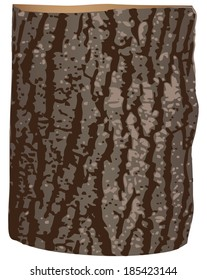 Wooden log covered with bark. Vector illustration.