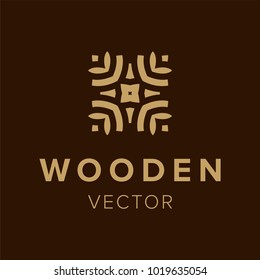 Wooden logo design. Creative symbol element for business. Template trendy icon. Vector illustration of modern branding logotype.