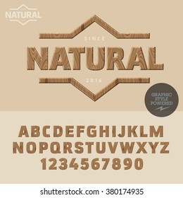 Wooden logotype for organic and natural product shop. Vector set of letters and  numbers