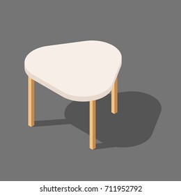 Wooden low table with three legs, triangular table for room, flat vector illustration isolated on white background, isometric.