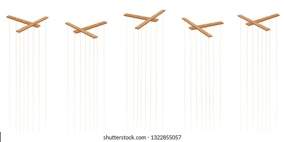 Wooden marionette control bars. Five items with strings and no puppets. Symbol for manipulation, control, authority, domination - or just as a toy for a puppeteer. Isolated vector on white.