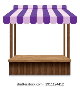 Wooden market stall with purple and pink awning on white background.