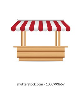 Wooden market stand stall with red and white sunshade. Mock up of wooden counter with canopy for street trading, wooden counter, kiosk, stand. Vector illustration.