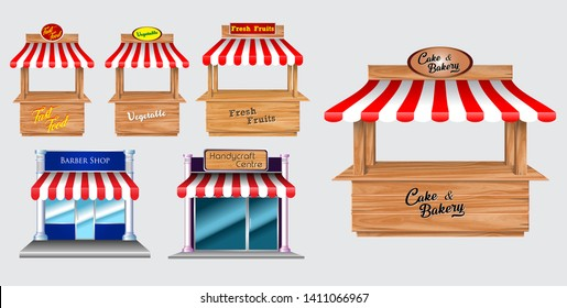 Wooden market stand stall and various kiosk, with red and white striped awning isolated (fast food, vegetable, fresh fruit, barber shop, handy craft, cake bakery).