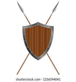 Wooden medieval shield with iron frame and crossed spears, vector design