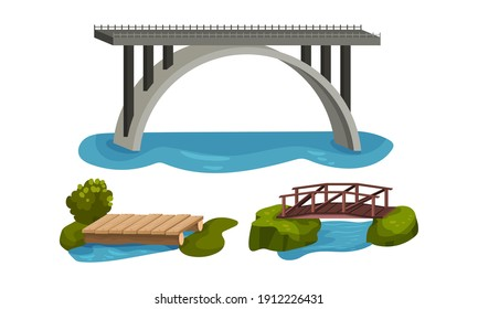 Wooden and Metal Bridge as Road Over Water Vector Set