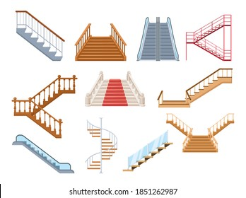 Wooden and metal staircase with handrails set. Wooden staircases covered with red carpet, spiral staircase, store escalator, floor to floor ladder isolated cartoon vector