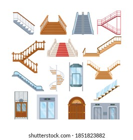 Wooden, metal staircase with handrails. Wooden staircases covered with red carpet, spiral staircase, store escalator, floor to floor ladder. House office interior with lift mechanisms cartoon vector