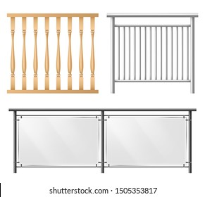 Wooden, metallic, glass railings, fence section for home stairways, house balcony, sidewalk fencing 3d realistic vector set isolated on white background. Room, public place interior design elements